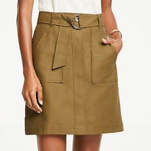 Olive Belted A-Lime Skirt Ann Taylor Linen Blend